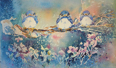 Three Blue Birds Art Print by Mary Haley-Rocks