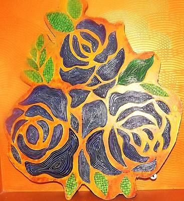 Three Blue Roses  Original