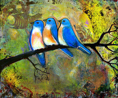 Bluebird Painting - Three Little Birds - Bluebirds by Blenda Studio