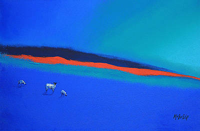 Painted Painting - Three Blues And A Red by Neil McBride