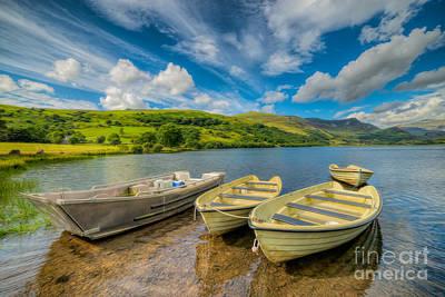 Coastline Digital Art - Three Boats by Adrian Evans