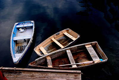 Art Print featuring the photograph Three Boats In Rockport Mass by Jacqueline M Lewis