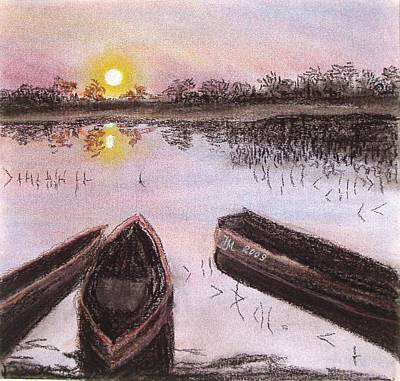 Pastel - Three Boats by Nina Mitkova