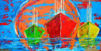 Painting - Three Boats Sailing In The Ocean by Patricia Awapara