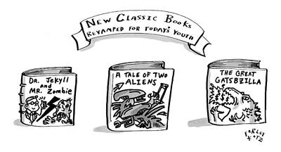 Book Title Drawing - Three Books Are Seen Which Are Hybrids Of Classic by Farley Katz