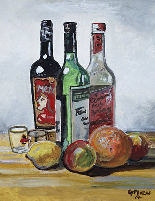 Go For Gold - Three Bottles and Fruit by Gordon Powles