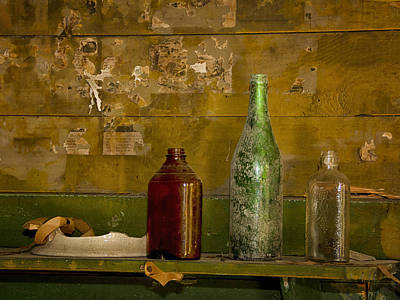 Photograph - Three Bottles On A Mantel by Sandra Anderson