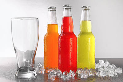 Photograph - Three Bottles With Drinks With Glass And Ice by Sandra Cunningham