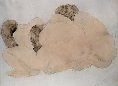 Anthropomorphic Drawing - Three Boulders  by Auguste Rodin