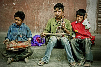 Photograph - Three Boys In Kathmandu by Valerie Rosen
