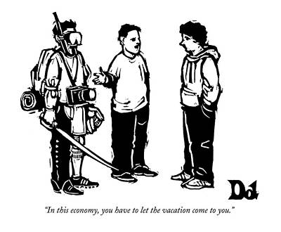 Gear Drawing - Three Boys Talking by Drew Dernavich