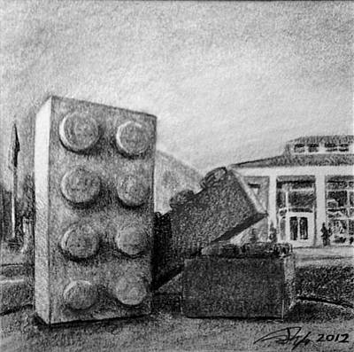Lego Drawing - Three Bricks by Tim Murphy