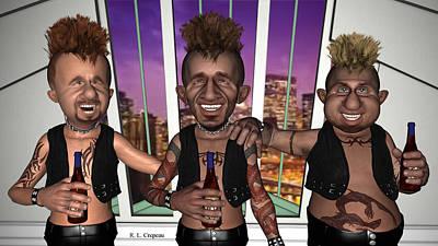 Digital Art - Three Bros With Brews by Robert Crepeau