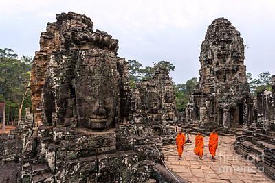 Three Buddhist Monks At Bayon Temple - Angkor - Cambodia Art Print by Matteo Colombo