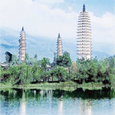 Buddhist Painting - Three Buddhist Pagodas In Dali City by Lanjee Chee