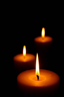 Close-up Photograph - Three Burning Candles by Johan Swanepoel