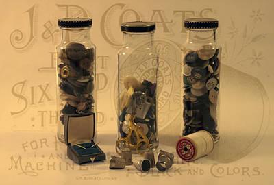 Three Button Jars Art Print by Sandra Foster
