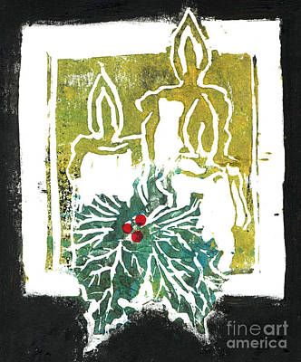 Three Candles And Holy Sprig Art Print by Ellen Miffitt