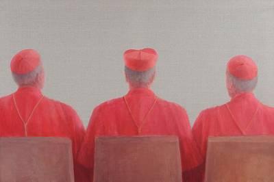 Cardinal Photograph - Three Cardinals II, 2012 Acrylic On Canvas by Lincoln Seligman