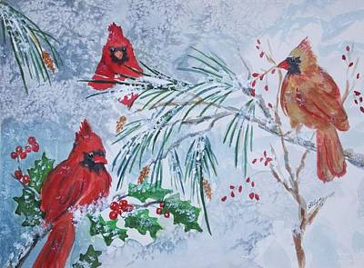 Painting - Three Cardinals In The Snow With Holly by Ellen Levinson