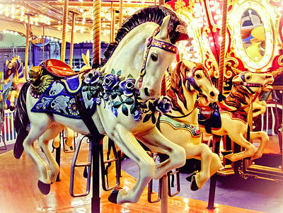 Carousel House Photograph - Three Carousel Ponies by Colleen Kammerer
