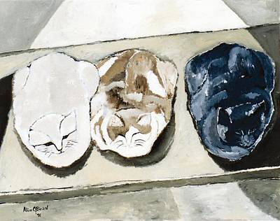 Three Cats Art Print by Allison  Fauchier