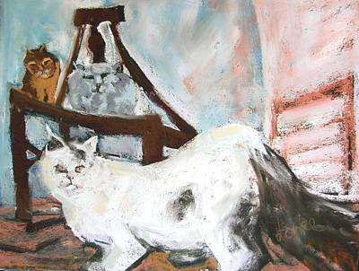 Turkish Van Cat Pastel - Three Cats And A Chair by Barbara Torke