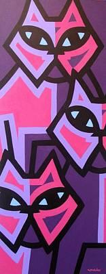 Warhol Painting - Three Cats by John  Nolan