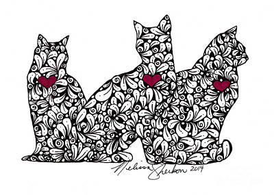 Flourishes Drawing - Three Cats by Melissa Sherbon