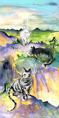 Painting - Three Cats On The Penon De Ifach by Miki De Goodaboom