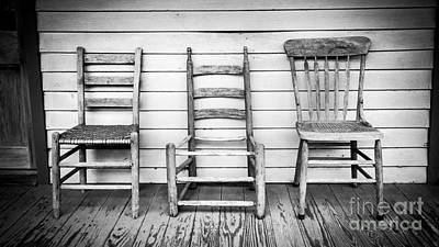 Plantations Digital Art - Three Chair Porch by Perry Webster