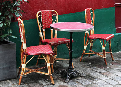Photograph - Three Chairs In Paris by John Rizzuto