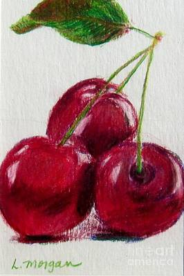 Still Life Drawings - Three Cherries by Laurie Morgan