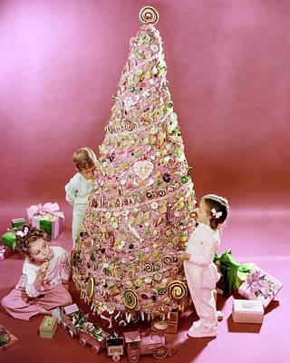 Eating Photograph - Three Children Eating A Candy Christmas Tree by Herbert Matter