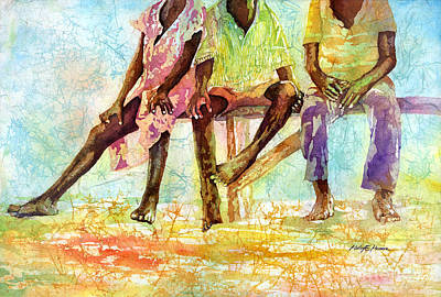 African Child Painting - Three Children Of Ghana by Hailey E Herrera