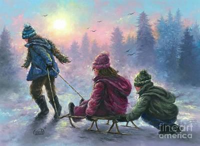 Three Children Sledding Original