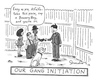 Gang Drawing - Three Children Speak To Another by Danny Shanahan