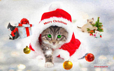 Painting - Three Christmas Kittens by Chris Armytage