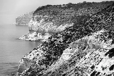 Photograph - Three Cliffs In Cyprus - Black And White by John Rizzuto