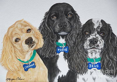 Watercolor Pet Portraits Painting - Three Cocker Spaniels by Megan Cohen