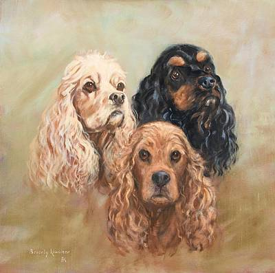 Black Cocker Spaniel Painting - Three Cockers by Beverly Klucher
