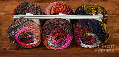 Photograph - Three Colorful Skeins Of Yarn by Les Palenik