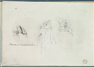 Three Costume Sketches Of A Bonnet Art Print by Anonymous, French, 18th century