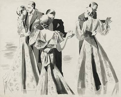 Three Couples Dancing Print by Pierre Mourgue