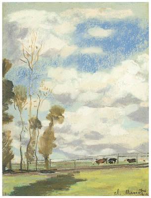 Three Cows In A Pasture Art Print