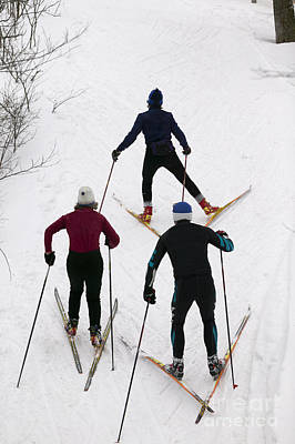 Photograph - Three Cross Country Skiers. by Don Landwehrle