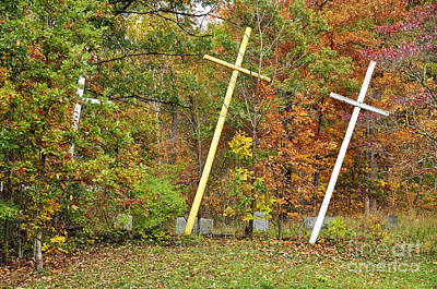 Three Crosses And Cemetery Art Print