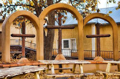 Photograph - Three Crosses Of El Santuario De Chimayo by Robert Meyers-Lussier