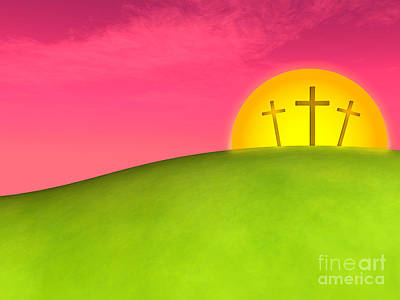 Passover Digital Art - Three Crosses On A Hill Against Beautiful Sunset by Shazam Images