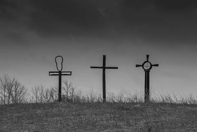 Photograph - Three Crosses Under A Dark Sky by Guy Whiteley